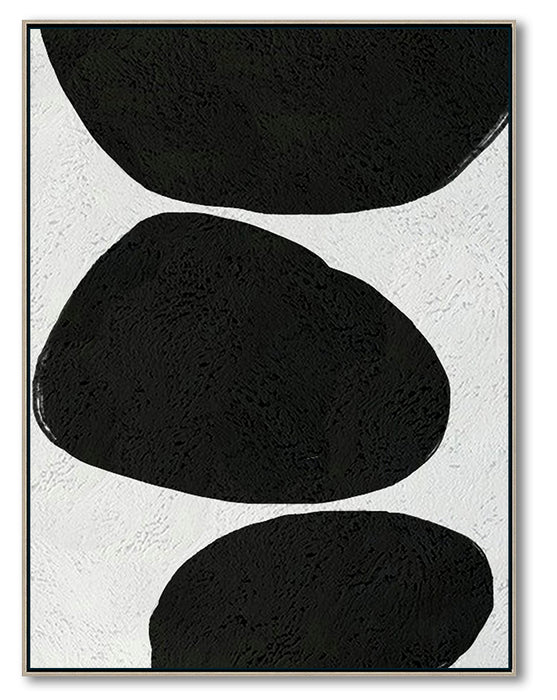 Oversized Abstract Canvas Wall Art, Original Oil Painting, Minimalist Black and White Living Room Wall Art Decor no. 49
