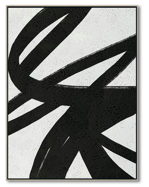 Large Abstract Canvas Art, Original Oil Painting, Black & White Wall Art, Contemporary Modern Art Decor