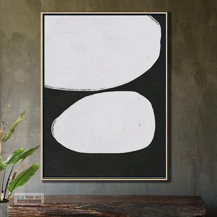 Large Abstract Canvas Wall Art, Original Oil Painting, Minimalist Modern Black and White Living Room Wall Art Decor no. 51