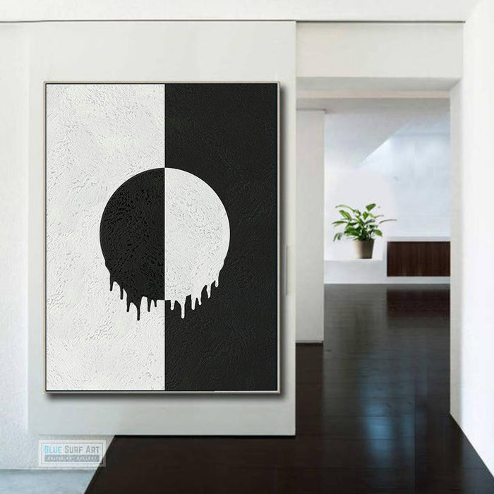 Large Abstract Canvas Wall Art, Original Oil Painting, Minimalist Modern Moonlight Black and White Living Room Wall Art Decor no. 55