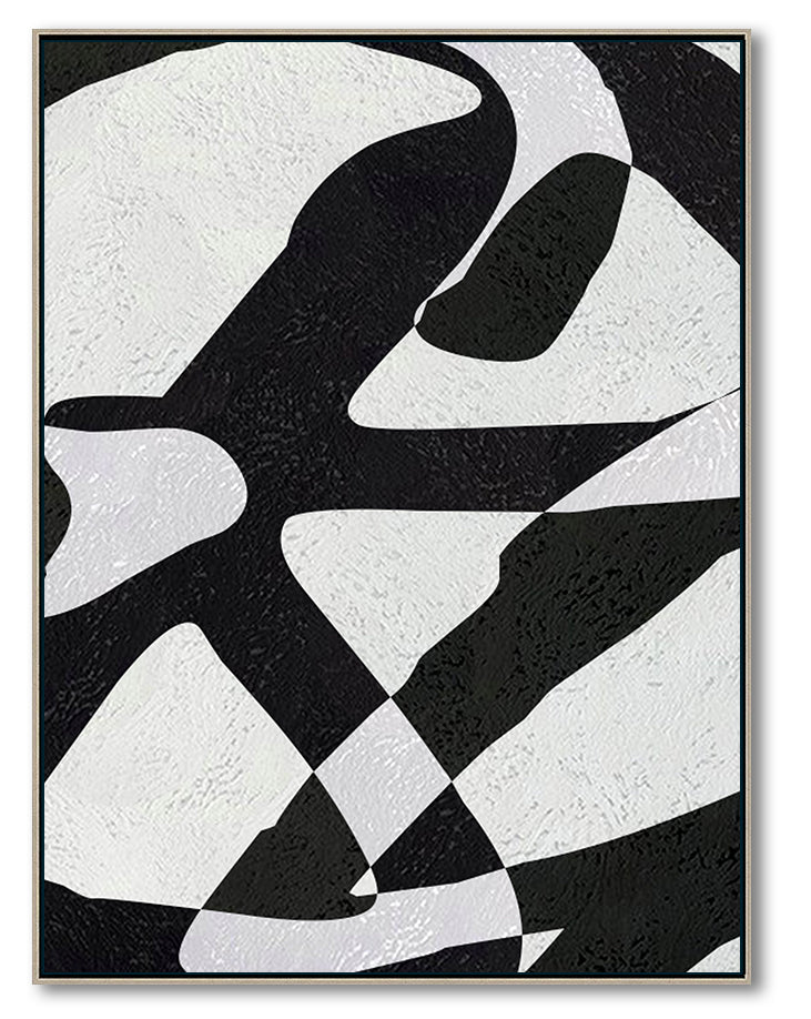 Modern Abstract Canvas Wall Art, Original Oil Painting, Modern Illusion Black and White Living Room Wall Art Decor no. 57