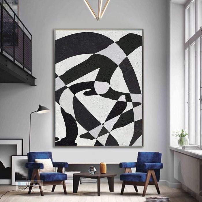 Modern Illusion Abstract Canvas Wall Art, Original Oil Painting, Black and White Living Room Wall Art Decor no. 58