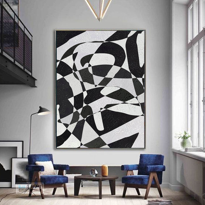 Modern Illusion Abstract Canvas Wall Art, Original Oil Painting, Black and White Living Room Wall Art Decor no. 59