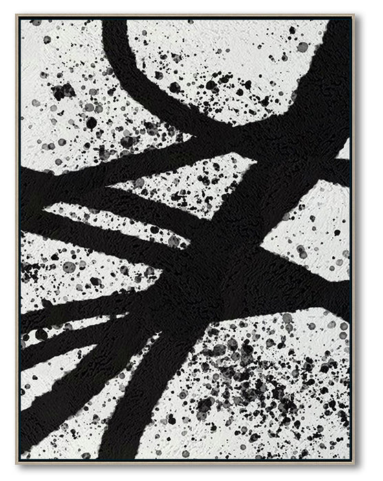 Modern Illusion Abstract Canvas Wall Art, Original Oil Painting, Black and White Living Room Wall Art Decor no. 92