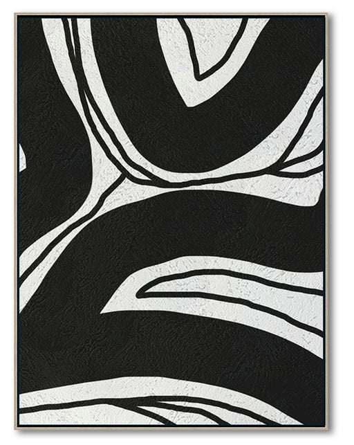 Modern Abstract Canvas Wall Art, Original Oil Painting, Black and White Living Room Wall Art Decor no. 96