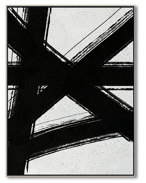 Modern Abstract Canvas Wall Art, Original Oil Painting, Black and White Living Room Wall Art Decor no. 98