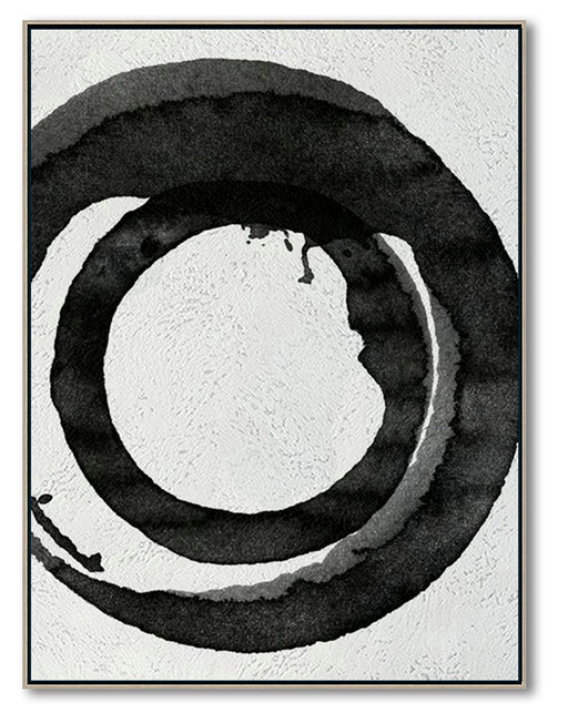 Modern Abstract Canvas Wall Art, Original Oil Painting, Black and White Living Room Wall Art Decor no. 99