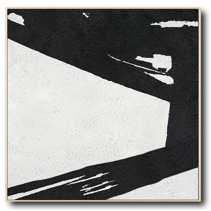 Large Abstract Minimalist Painting On Canvas, Black and White Square Size Painting II