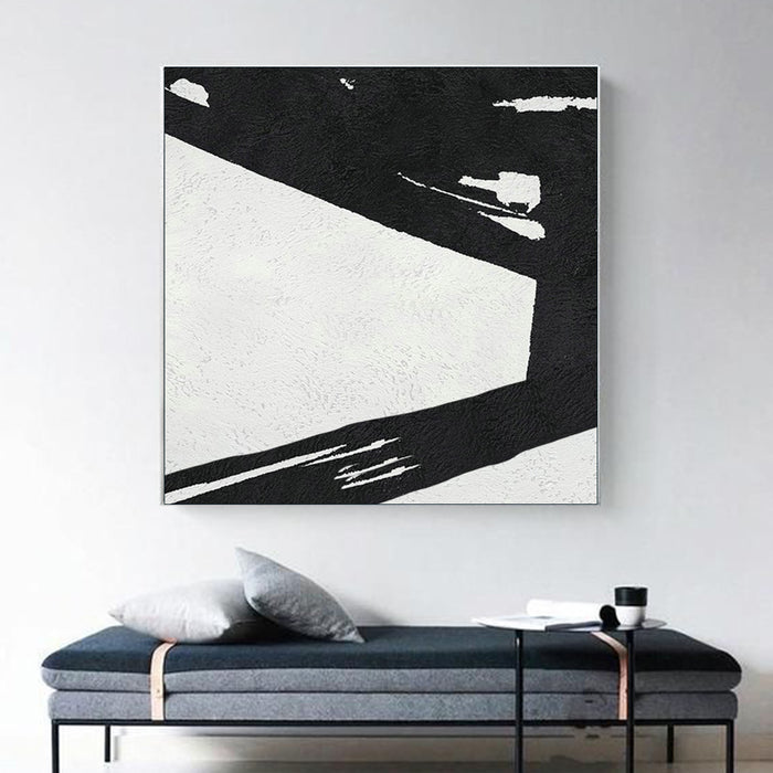 Large Abstract Minimalist Painting On Canvas, Black and White Square Size Painting II -  modern wall decor