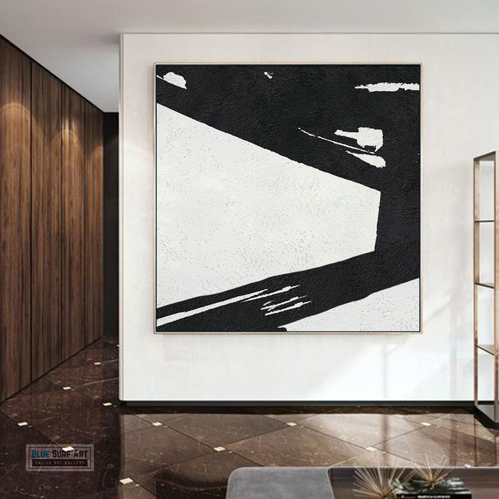 Large Abstract Minimalist Painting On Canvas, Black and White Square Size Painting II - wall art home decor