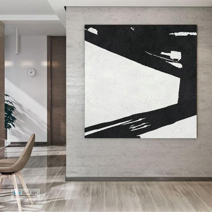 Large Abstract Minimalist Painting On Canvas, Black and White Square Size Painting II - room wall art