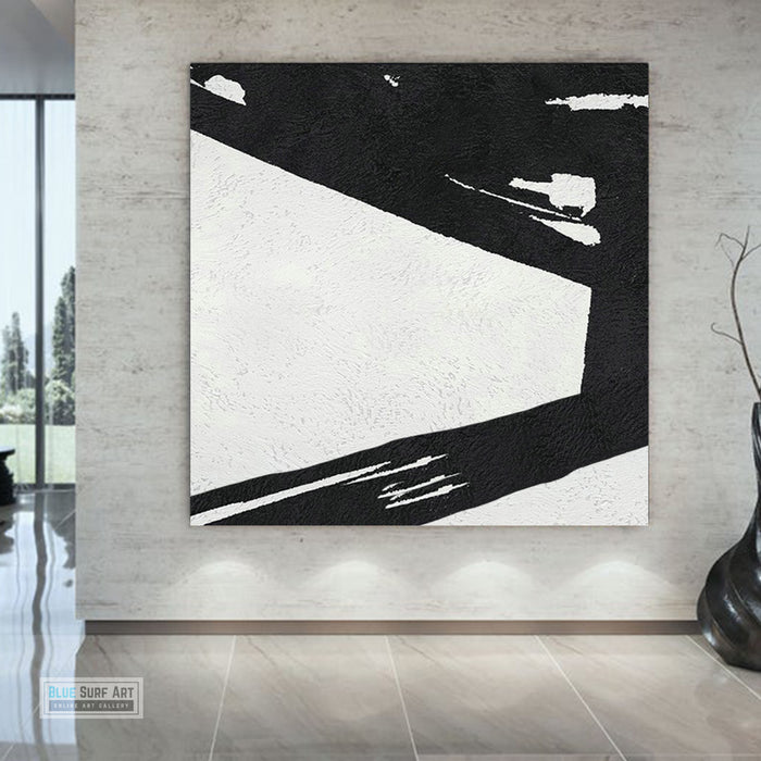 Large Abstract Minimalist Painting On Canvas, Black and White Square Size Painting II - modern room