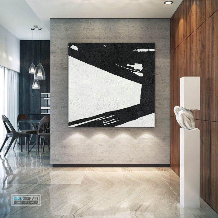 Large Abstract Minimalist Painting On Canvas, Black and White Square Size Painting II - contemporary art