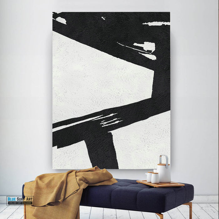 Extra Large Abstract Painting, Black and White Minimal Canvas Art Painting 1
