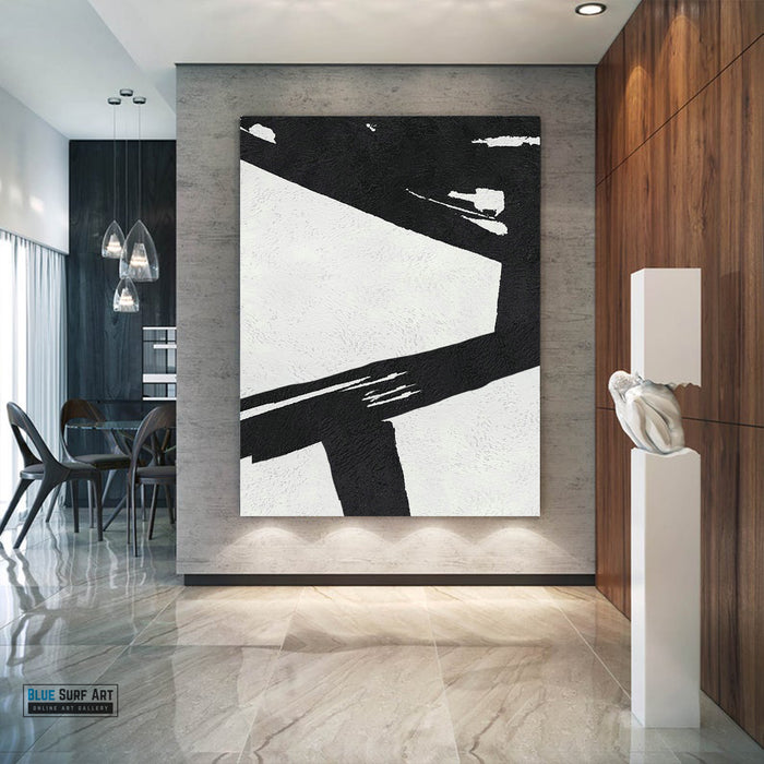 Extra Large Abstract Painting, Black and White Minimal Canvas Art Painting 3
