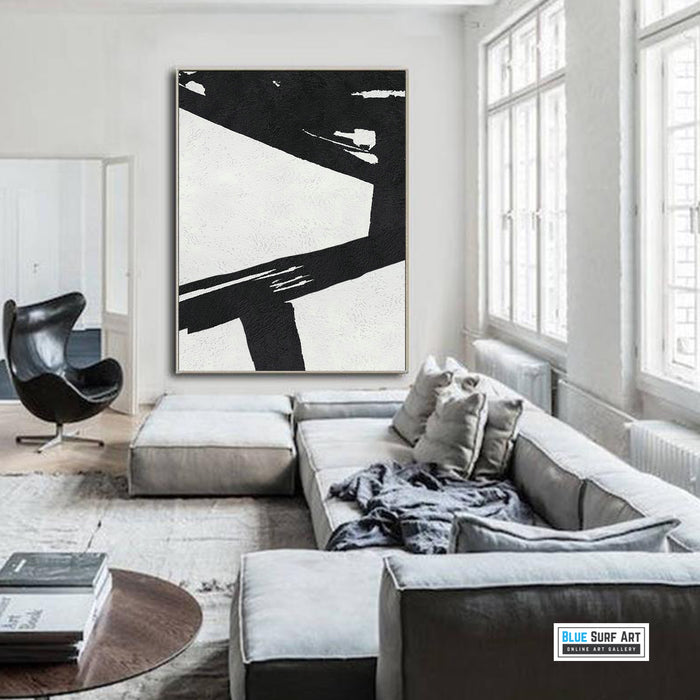 Extra Large Abstract Painting, Black and White Minimal Canvas Art Painting 2