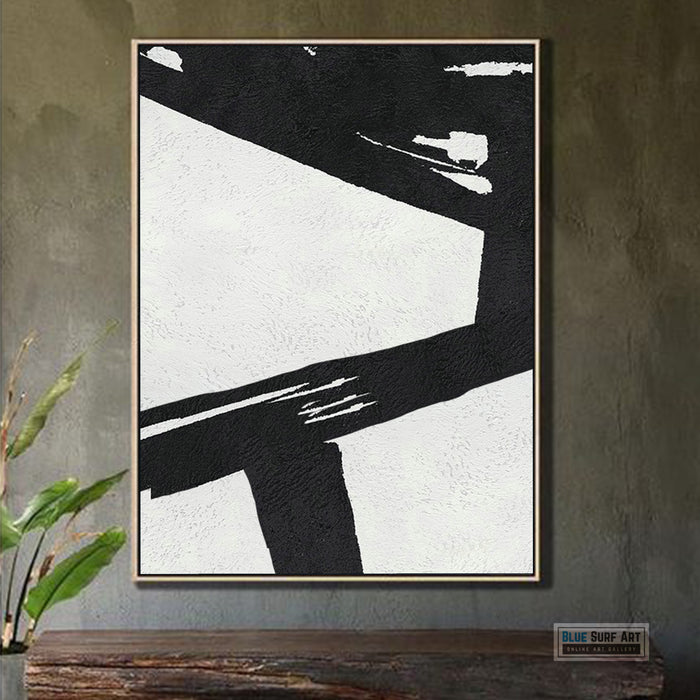 Extra Large Abstract Painting, Black and White Minimal Canvas Art Painting 4
