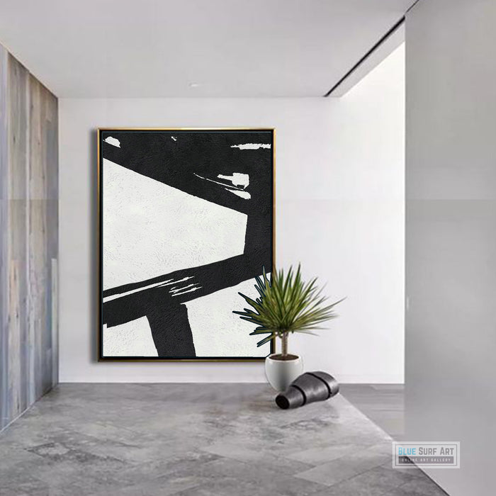 Extra Large Abstract Painting, Black and White Minimal Canvas Art Painting 6