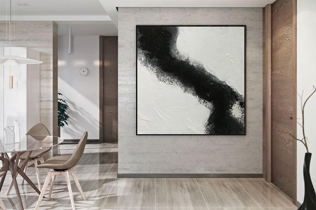 Large Abstract Black & White Square Size, Textured Abstract Art, Minimalist Art Canvas Art by Blue Surf Art Wall Art, Home Decor, Reproduction 2