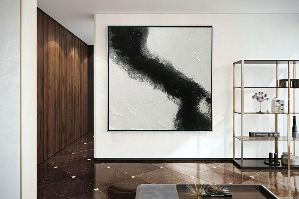 Large Abstract Black & White Square Size, Textured Abstract Art, Minimalist Art Canvas Art by Blue Surf Art Wall Art, Home Decor, Reproduction - 5