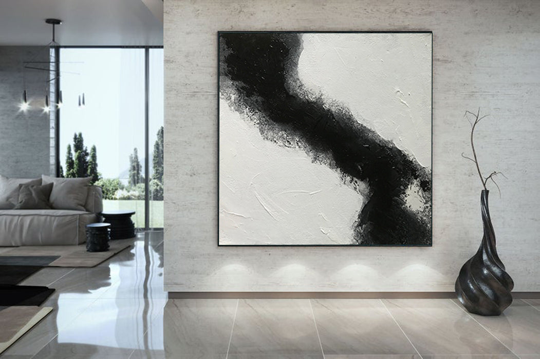 Large Abstract Black & White Square Size, Textured Abstract Art, Minimalist Art Canvas Art by Blue Surf Art Wall Art, Home Decor, Reproduction - room art decor