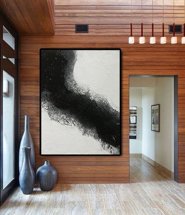 Abstract Painting Extra Large Black & White - Portrait Dimension Canvas Art by Blue Surf Art Wall Art, Home Decor, Reproduction - art wall idea