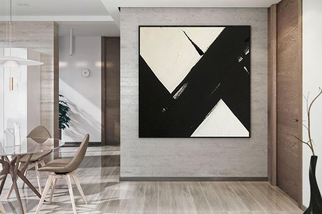 Large Abstract Painting On Canvas, Black and White Square Size Painting 4