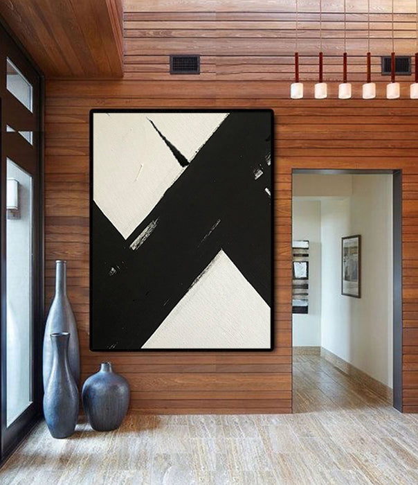 HUGE Abstract Painting Oversized Canvas Art, Black and White Minimal Painting On Canvas, Acrylic and Oil Painting 1