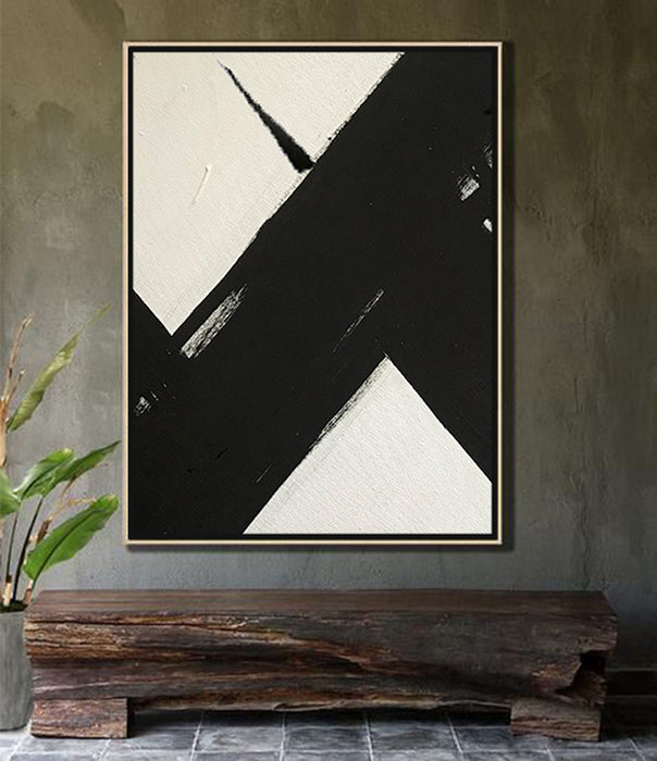 HUGE Abstract Painting Oversized Canvas Art, Black and White Minimal Painting On Canvas, Acrylic and Oil Painting 2