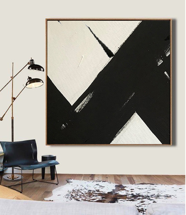 Large Abstract Painting On Canvas, Black and White Square Size Painting - living room decor