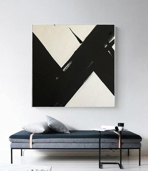 Large Abstract Painting On Canvas, Black and White Square Size Painting - modern decor