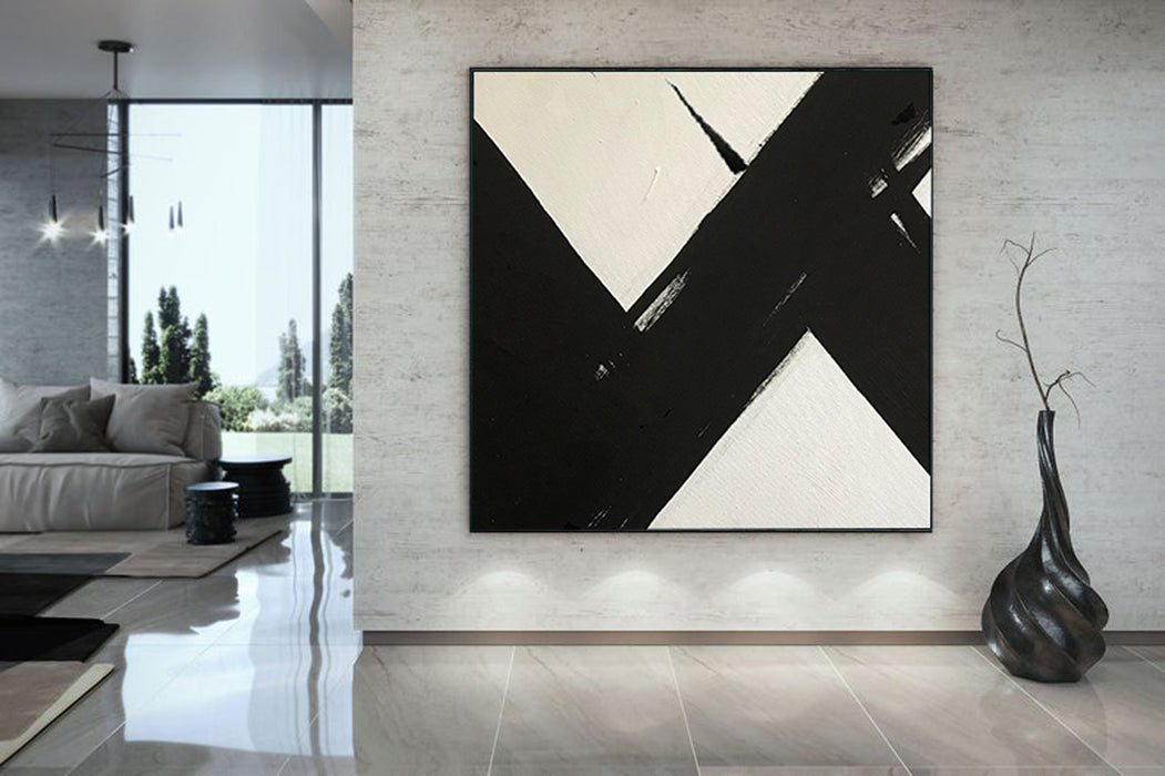 Large Abstract Painting On Canvas, Black and White Square Size Painting 6