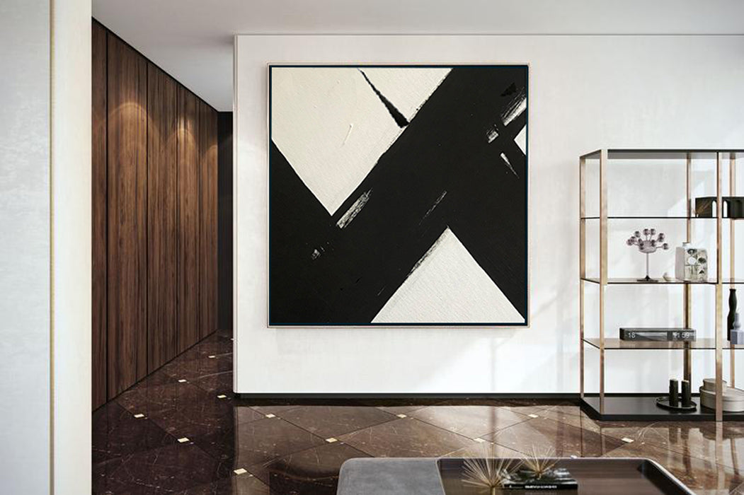 Large Abstract Painting On Canvas, Black and White Square Size Painting 5