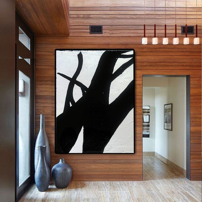 Extra Large Abstract Painting, Wall Canvas Art, Black and White Minimal Painting 3