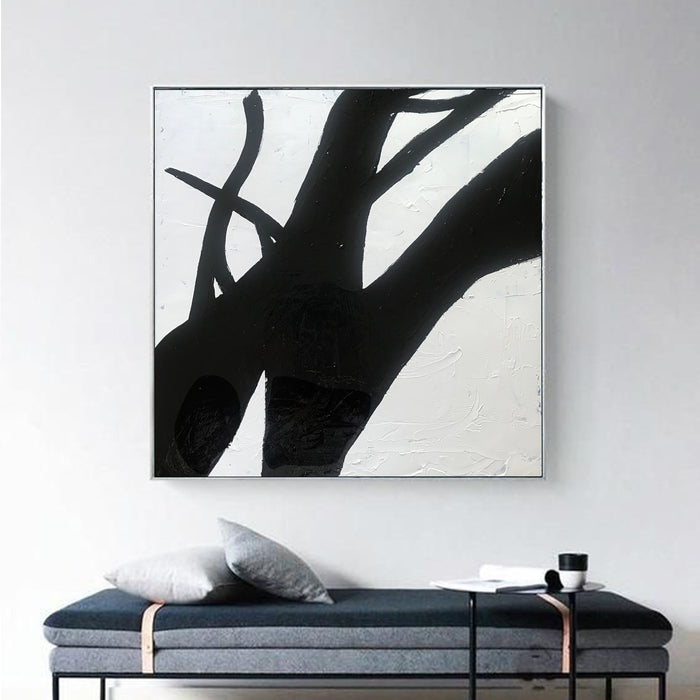 Large Abstract Minimalist Painting On Canvas, Black and White Square Size Painting - modern art
