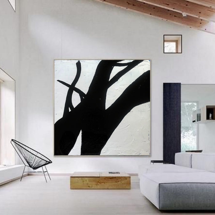 Large Abstract Minimalist Painting On Canvas, Black and White Square Size Painting - modern room decor
