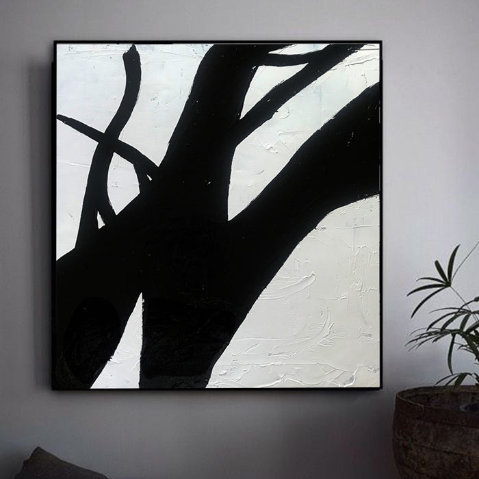 Large Abstract Minimalist Painting On Canvas, Black and White Square Size Painting - wall modern art