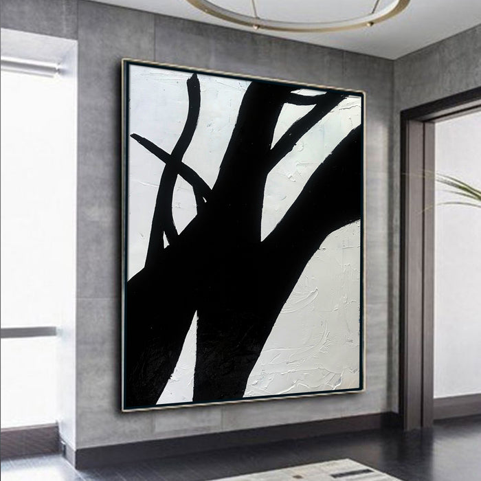 Extra Large Abstract Painting, Wall Canvas Art, Black and White Minimal Painting 2