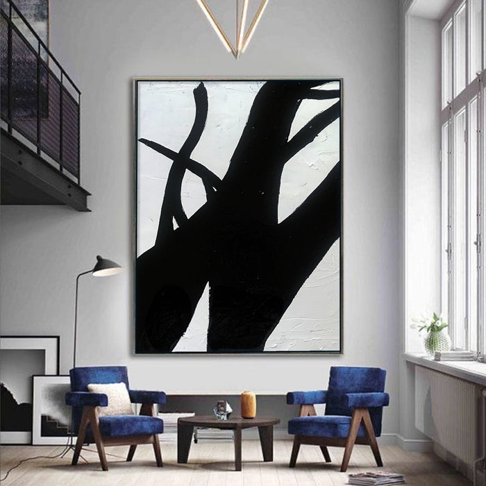 Extra Large Abstract Painting, Wall Canvas Art, Black and White Minimal Painting 4