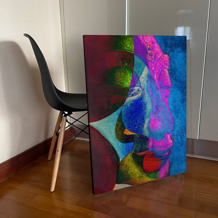 Abstract Multi Colour Buddha Original Oil on Canvas