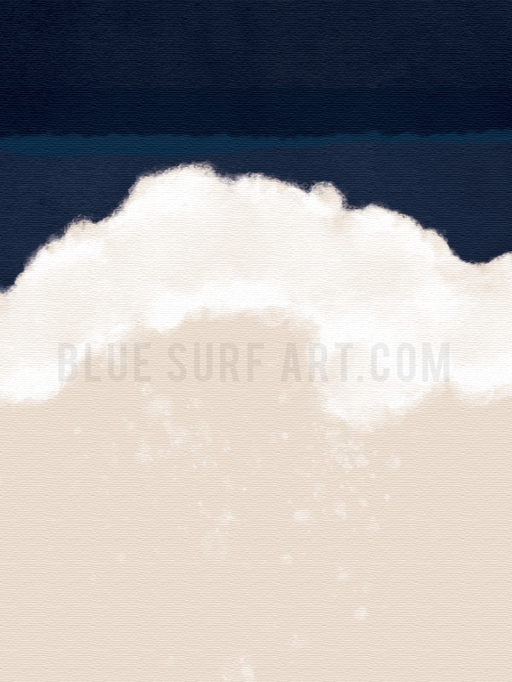Indigo Ocean Canvas Art Print. Wall Art, Home Decor I Blue Surf Art