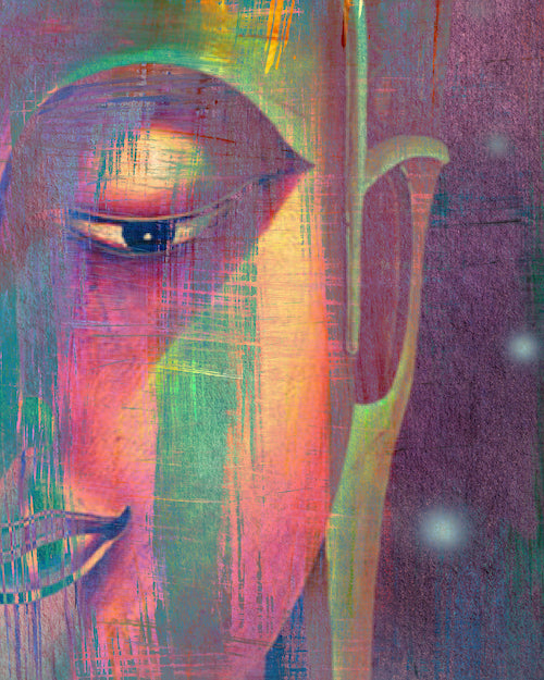Multi Colour Buddha Portrait in Abstract Style