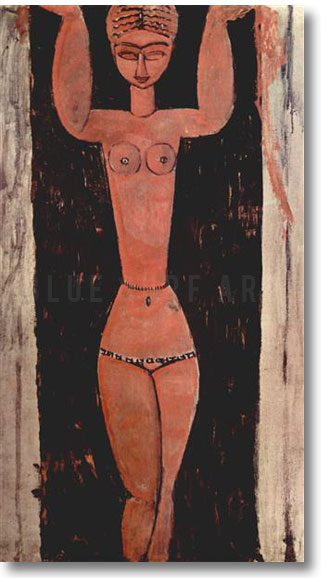 """Standing Caryatid 1913"" by Amedeo Modigliani, reproduce in oil painting on canvas"