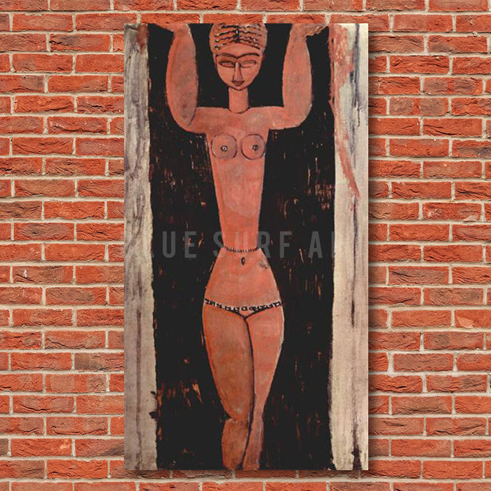"""Standing Caryatid 1913"" by Amedeo Modigliani, reproduce in oil painting on canvas - showcase on the red bricks wall"