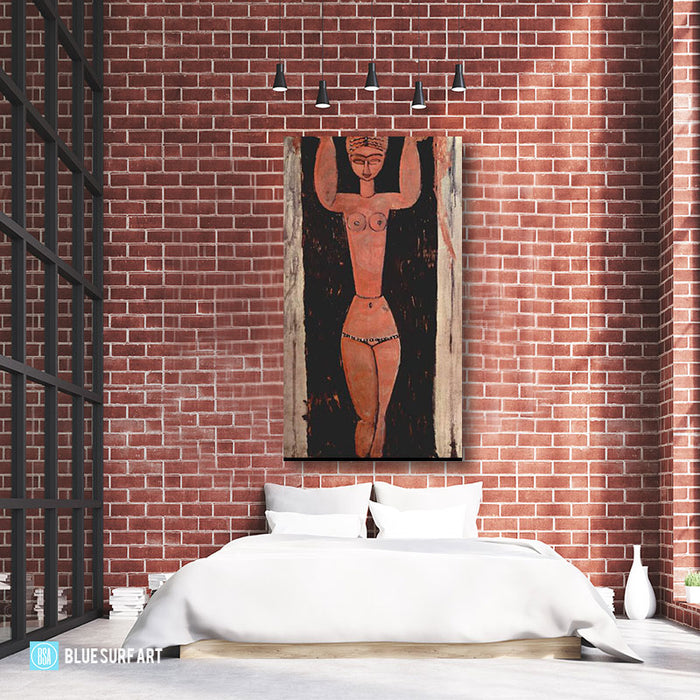 """Standing Caryatid 1913"" by Amedeo Modigliani, reproduce in oil painting on canvas - bedroom loft style high ceiling"