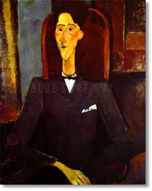 """Portrait of Jean Cocteau"" by Amedeo Modigliani reproduction, in oil painting on canvas"