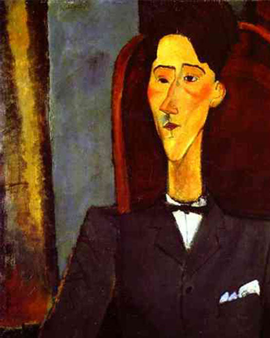 """Portrait of Jean Cocteau"" by Amedeo Modigliani reproduction, in oil painting on canvas - details"
