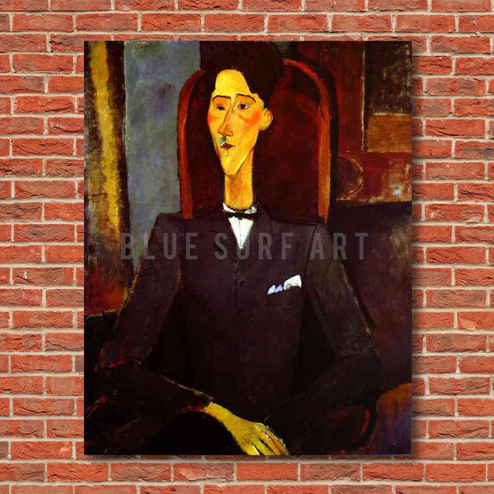 """Portrait of Jean Cocteau"" by Amedeo Modigliani reproduction, in oil painting on canvas - product showcase on red bricks wall"