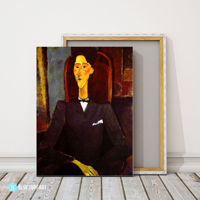 """Portrait of Jean Cocteau"" by Amedeo Modigliani reproduction, in oil painting on canvas - studio showcase"