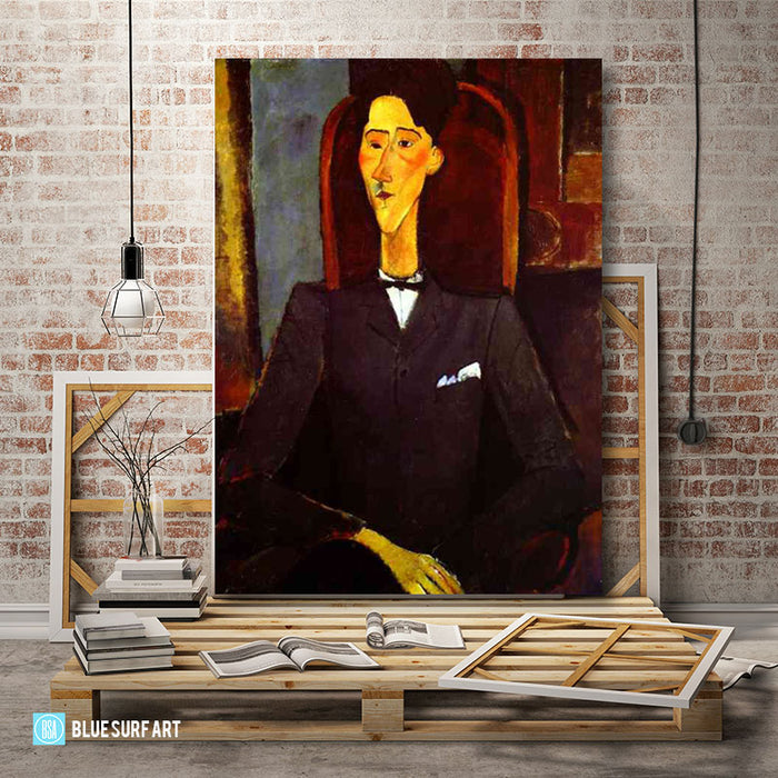 """Portrait of Jean Cocteau"" by Amedeo Modigliani reproduction, in oil painting on canvas - studio loft"